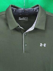 Under Armour Loose HeatGear 2XL XXL men's dark green / gray trim polo golf shirt