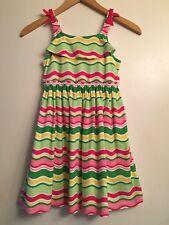 NWT GYMBOREE Island Lily Girls Green Pink Wavy Striped Sun Dress Size 7