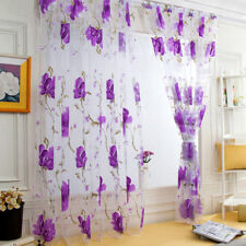 1pc Vines Leaves Tulle Door Window Curtain Drape Panel Sheer Scarf Valances New