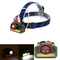 Rechargeable Q5 + COB LED Zoom Outdoor Headlamp Headlight Flashlight Head Torch