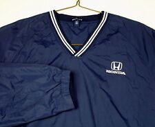 Honda Car Blue Raglan Wind shirt Pullover Sz 2XL V Neck Drawstring Waist Pockets