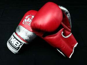 Top KingThai Boxing Gloves -Snake Red-Beathable-12oz