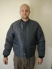 Vtg Deadstock Navy Quilt Nylon Insulated Rockabilly Mechanics Work Jacket M USA