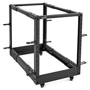 NavePoint 12U 4-Post Open Frame Server Rack, Adjustable Depth, Casters, Threaded
