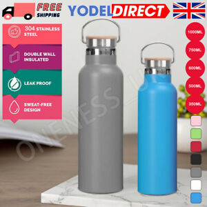 Stainless Steel Water Bottle Double Wall Vacuum Insulated Sports Metal Flask UK
