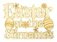 Personalised 'Easter at the...' Wooden MDF Sign with Shapes, Easter Gift