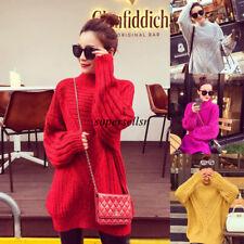 Korean Women Winter Knitted Long Jumper Sweater Tops Pullover Knitwear Dress