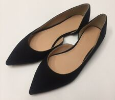 J Crew $138 Audrey Flats in Suede Sz 6.5 Black Shoes G0891 New