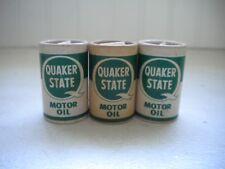 Set of 3 Vtg Quaker State Motor Oil Cans Salt & Pepper Shakers