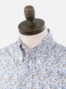 Art Gallery Clothing - Long Sleeve Fitted Shirt - Paisley - Blue S Mod Sixties