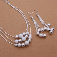 Silver Earring Necklace Jewelry set Fashion nice cute wedding Pretty women 925