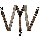New in box Men's Suspender black gold brown plaid convertible braces buttons