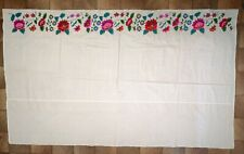 Ukrainian vintage linen embroidered bed sheet, 1950s