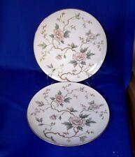 "Noritake China dinnerware CHATHAM (2) Luncheon Plates 8"" White Silver Pink"