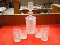 Vintage Depression Glass Decanter and 6 Depression Glass Glasses