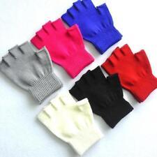 Kids Boys Girls Junior Plain Stretchy Magic Gloves Fingerless Winter Warm SX