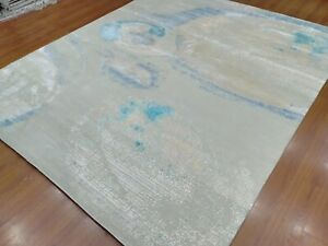 9'x12' Rug | Hand knotted Contemporary rugs Wool & Natural Silk (real silk)