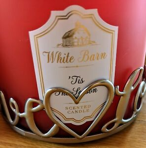 """BATH BODY WORKS GOLD  Metal """"LOVE"""" LARGE 3 WICK CANDLE HOLDER SLEEVE 14.5"""