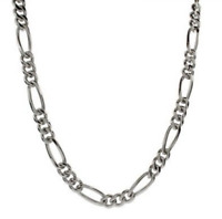 "Men's 22"" Inch Stainless Steel Figaro Chain Link 5.5mm Necklace C6"