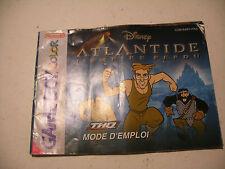Retrogaming NINTENDO GBA Game Boy COLOR Notice DISNEY ATLANTIDE manual France
