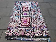 Old Hand Made Moroccan Boucherouite Cotton Fabric Colourful Rug 213x133cm