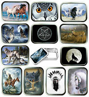 Indian 2oz Silver Tobacco Tin, Stash Can, Storage Tin,15 Designs, Owl's, Deer,