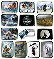 Indian 2oz Silver Tobacco Tin, Stash Can, Storage Tin,15 Designs, Owl's, Deer,