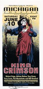 MINT & SIGNED King Crimson 1995 Michigan Theater Ann Arbor Arminski Handbill