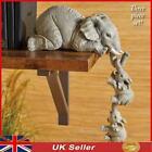Vintage 3 Mother Elephant Baby Ornaments Hand-made Animal Home Decor Figure Uk