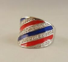 N Ring   [ 925 Sterling Silver & Clear Cubic Zircon ] Stripped: Red and  Blue