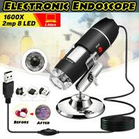 1600X USB Digital Mikroskop Lupe Fach mit 8 LEDs für Handys PC Windows DE