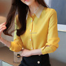 Women Button Down Shirt Solid Long Sleeve Spring Slim Business Career Blouse Top