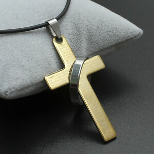 """Mens genuine thong leather necklace with stainless steel cross pendant 18-30"""""""