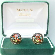 1959 Six pence cufflinks  real coins in Black & Colours