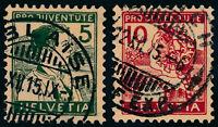 SCHWEIZ 1915, MiNr. 128-129, 128-29, sauber gestempelt, Mi. 110,-