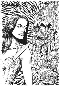 DOCTOR WHO ORIGINAL ART: LEELA AND THE SONTARANS BY SCOTT GRAY