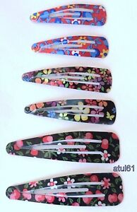 6 Assorted size Hair Clips Slides Grips Girl Girls FASHION SNAP Accessories NEW