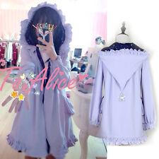 Purple Japanese Kawaii Mori Girl Lolita Preppy Style Hooded Jacket ZIPPER Coat #