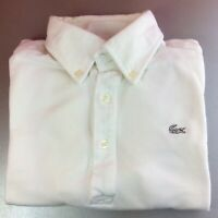 Lacoste Extra-Small (2) White Solid Short Sleeve Polo Shirt White Logo Genuine