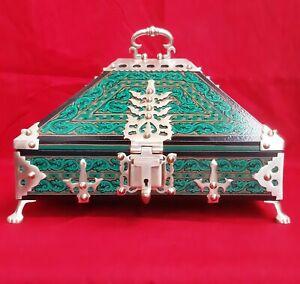 Antique Style Treasure Jewelry Box Dowry Kerala Nettoor Wooden Chest Trinket Art