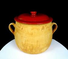 """RED WING PROVINCIAL WARE POTTERY #30 TAN HANDLED 8"""" BEAN CROCK POT WITH LID"""