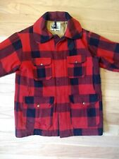 Vtg Distressed 60s Woolrich Men's Red Black Plaid Wool Cruiser Barn Coat Size 38