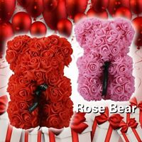 Valentine's Day Rose Bear Artificial Flower Teddy Wedding Party Love Gift 25cm