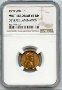 1909 VDB 1C NGC MS 66 Red / Mint Error Obverse Lamination