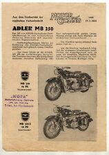 Pubblicità: Motor Cycling del 1955, ADLER MB 250
