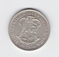 1955 South Africa 2 Shillings shilling Silver Coin  Z-266