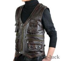Mens Leather Sleeveless Outdoor Vest Fishing Multi Pockets photography Waistcoat