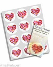 12 Valentine Coeur Lèvres Cupcake Toppers Ricepaper Toppers gâteau 40mm décoration