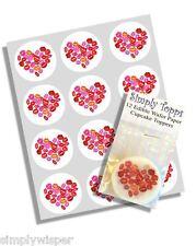 12 Cœur St Valentin Lèvres Dessus De Cupcakes papier riz 40mm décoration gâteau