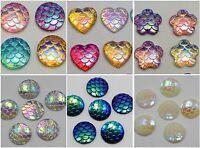 100 Flatback Resin Fish Scale Pattern Cabochon 12mm Round Heart Flower Choice